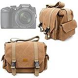Sac toile de coton couleur sable pour appareils photo Panasonic Lumix GF8 et DMC-FZ300, Nikon Coolpix B500 et B700 Bridge, Pentax K-1 SLR - compartiments modulables, par DURAGADGET