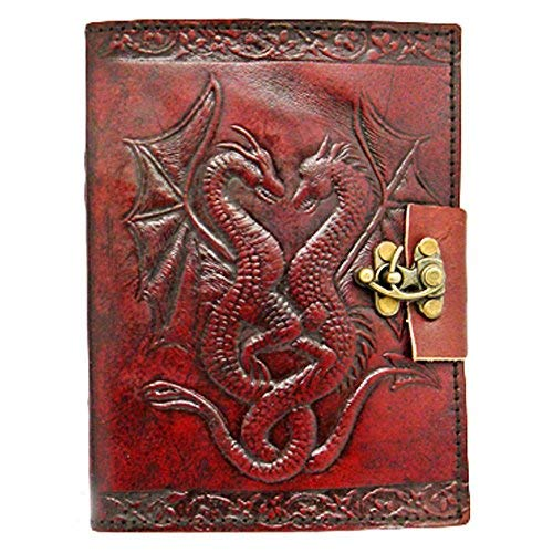 Handgefertigt Double Dragon geprägt braun Leder gebundenes Tagebuch mit Schloss