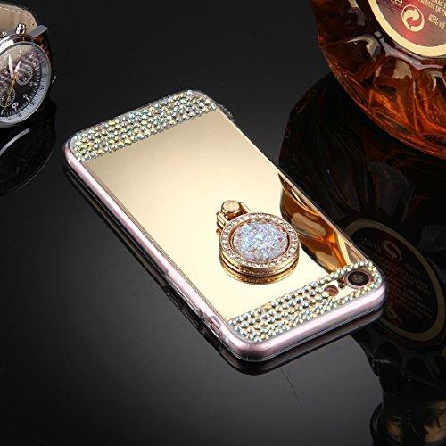 GHC Cases & Covers, Für iPhone 7 Diamond verkrustete Galvanik Spiegel Schutzhülle Fall mit versteckten Ring Halter ( Color : Rose gold ) Gold