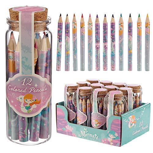 1 Stück Krug mit 12 Bleistifte Pastellstifte bunt design Kleine Meerjungfrau (Krug Bunte)