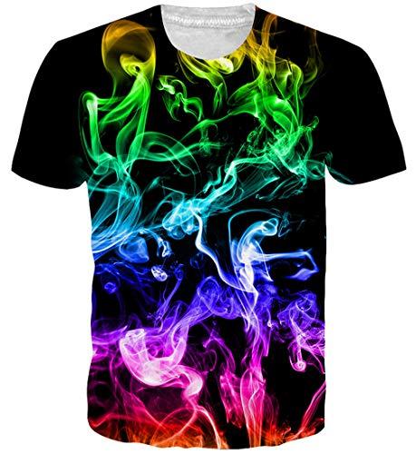 Goodstoworld Galaxy t-Shirt Jungen Herren Damen 3D T Shirt Bunt Druck Sommer Funny Lustig Beiläufige Kurze Hülsen Tee Top XL -