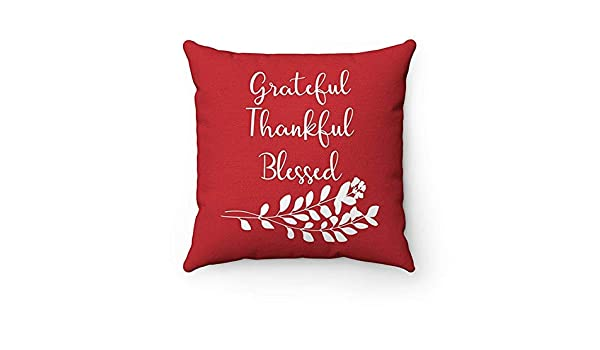 Meg121ace Monogram Throw Pillow with Sayings Grateful