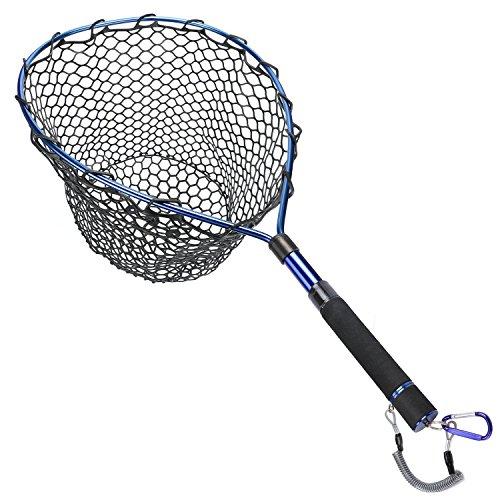 Goture Magnetic Clip Fliegenfischen Kescher Catch und Release Forellen Net - Aluminiumlegierung Rahmen mit Soft Rubber Mesh (blue)