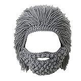 Lantra Besa Damen Herren Perücke Bart Mütze Lustige Strickmütze mit Haare für Skilaufen Karneval Halloween Cosplay Party EINWEG CC0006 - Maskenbart, Grau