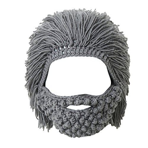 Lantra Besa Damen Herren Perücke Bart Mütze Lustige Strickmütze mit Haare für Skilaufen Karneval Halloween Cosplay Party EINWEG - Maskenbart, Grau