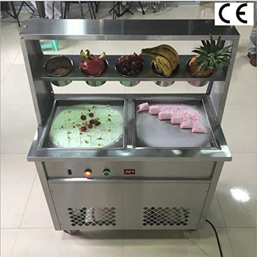 TX® Fried Ice Cream Machine 1600W Commercial Fried Ice Cream Maker for Yogurt ice Cream roll with Double Square Pans Five Buckets Fried Ice Cream Roll Machine (220V/50HZ, square pan2)