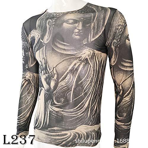 tzxdbh Tattoo Tattoo Langarm T-Shirt Damen Fan Digitaldruck Bodenbildung Shirt Musik Festival Kostüm L237 佛 170CM-182CM - Group Kostüm Einfach