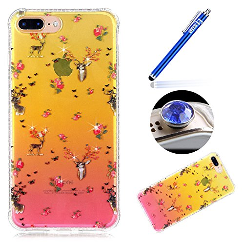 iPhone 7 Plus Custodia Diamante Bling,iPhone 7 Plus Cover in Silicone,Etsue 2017 Neo Disegni Donna Ragazza Cristallo Bling Scintillante Diamante Bella Elegante Romantico Fiori di Ciliegio Modello Tras cervo