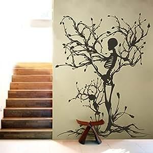 """Wandtattoo Halloween Gothic, Skelett-Art Aufkleber Baum Deko-Wandsticker, für Wohnzimmer, Vinyl, schwarz, 60""""h x46""""w"""