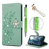 Huawei P20 Hülle Case, Filp PU Leder Wallet Handyhülle Flipcase : Bookstyle Pflaume mit Diamanten Tasche Brieftasche Schutzhülle in Minzgrün + Anti Staub Stöpsel + Stylus