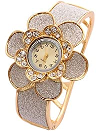 Shining Diva Fashion Luxury 18k Gold Plated Quartz Watch Bracelet for Girls and Women(Golden)(8312bw)
