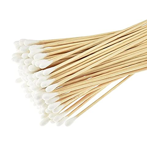 Cotton Tip, (Pack of 4/Total 400 pcs ) Swabs long, Cotton Swabs With Wooden Handles, (100% Cotone Tamponi)