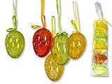 5-teiliges Oster-Dekorationsset, transparente Deko-Ostereier zum Hängen, mit Schleifenband, fröhlich bunte Farben: gelb/orange/grün, Höhe: 6 cm, Ostern Eier Deko-Eier Dekoration Frühling