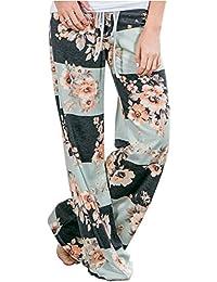 Femme Pantalon Bouffant Large avec Cordon Baggy Hip Hop Sarouel Jambes  Pantalon Palazzo Leggings Bohemien Hippie Chic Imprimé Fleuri… 8d2da069312