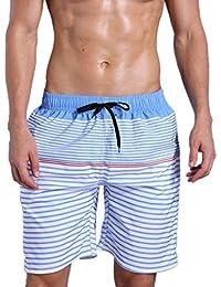 ORANSSI Men Swim Shorts Striped Mesh Lined Trunks