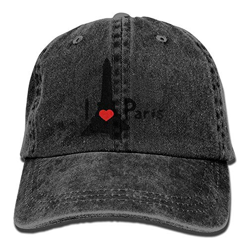 vbcnfgdntdy Unisex I Heart Paris Effel Tower Yarn-Dyed Denim Baseball Cap Adjustable Hunting Cap for Men Or Women (Heart Of Texas Film)