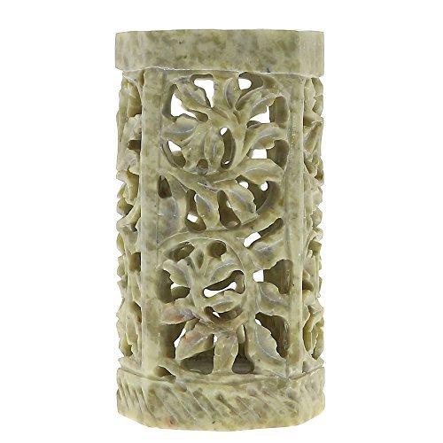 Indische Seife Stein Pen Stand Bleistift Inhaber Floral Lattice Arbeit Steinzeug 4 Zoll -