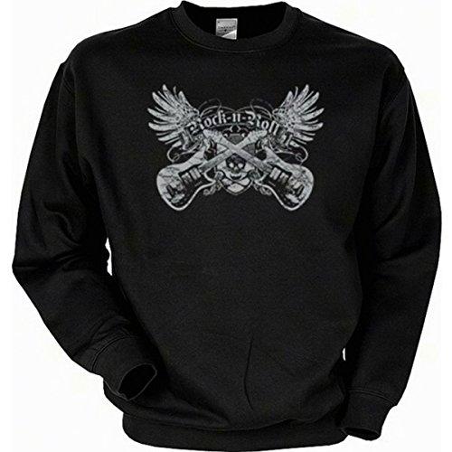 Gitarren Musiker Rock-n-Roll Sweatshirt Gr L in schwarz
