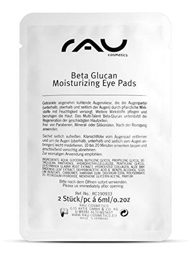 RAU Beta Glucan Idratante per occhi (8coppie), Idratante, raffreddamento Eye-Maschera in pile con β-glucani, pantenolo e Aloe Vera-Idratante Professionale Bende per occhiaie e Puffiness