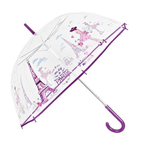 Paraguas Transparente Mujer Estampado Paris Morado