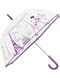 Paraguas Transparente Mujer - Paraguas Clásico de Burbuja Automatico - Estampado Paris - Fantasia a la moda - Resistente Antiviento - 89 cm de diámetro - Perletti Time