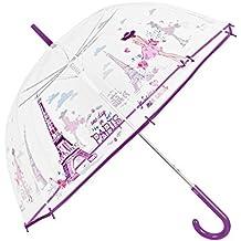 Paraguas Transparente Mujer - Paraguas Clásico de Burbuja Automatico - Estampado Paris - Fantasia a la