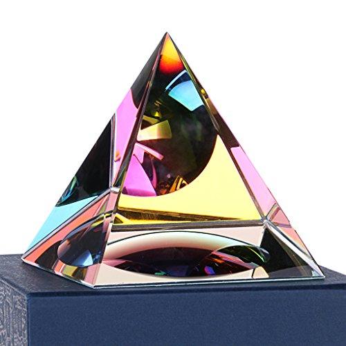 Sumnacon Cristal Pyramide en Verre de Couleur darc-en-Ciel et Une Belle Boîte, pour Photographie,Décoration, Cadeau ou Presse -Papier etc. (100mm)