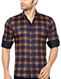 Global Rang Men's Cotton Button Down Shirt Navy Blue and Orange_46