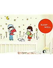 Oren Empower Innocent Children Going to Bed with a Pillow Wall Sticker (Finished Size on Wall - 100(w) x 65(h) cm)