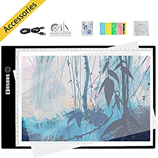 A4 Portable LED Light Box Tracer, COSOOS Super Thin Drawing Tracing Light Pad Table 5mm Adjustable Stepless Brightness Control USB Power Cable for ArtCraft Sketching Tattoo Architecture Calligraphy