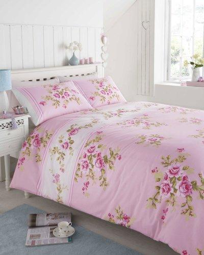 100 %BAUMWOLLE BIBER, PINK &WHITE ROSE BETTBEZUG für DOPPELBETT BETT - Cottage Standard-quilt