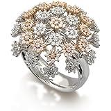 Margherite Anello Donna in Oro 18 carati Bianco/Rosa con Diamante H/SI (totale diamanti 1.35 ct), Taglia 16, 13 Grammi