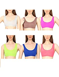 662a8a7352 GOLDEN GIRL Women s Blended Non-Padded Bra (Multicolour Free Size) - Pack  of 6