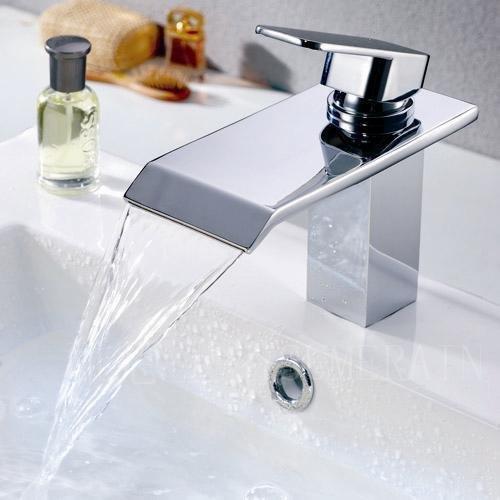 tourmeler Top 72561Moderne Jahn wurde Berichterstattung Wasserfall Wasserhahn Chrom vergoldet Kupfer Badezimmer Schrank Waschbecken heiß und kalt (Berichterstattung)