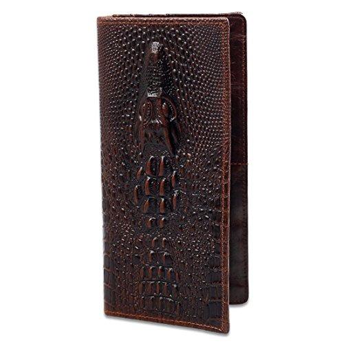 Männer Art und Weise beiläufiges Geschäft Weinlese-echtes Rindleder-Leder-Krokodil-Muster-langes Bifold Wallet-Geldbeutel-Alligator-Tiger-Drache-Kopf-Prägung (Wallet Alligator-bi-fold)