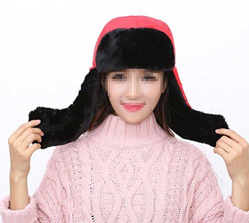 Masques Echarpe Velours épais, Plus Chaud Dame Chapeau D'hiver M red