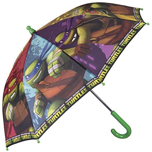 Regenschirm Teenage Mutant Ninja Turtles - Kinderschirm Ninja Turtles, robust, windfest - Sicher Kinderregenschirm mit abgerundeten, blockierten Spitzen - manuelle Sicherheitsöffnung - Perletti