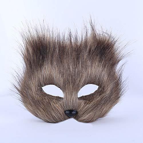 PEJWJ Prom Maske, Halloween Fuchs Maske, Horror Maske, Dies ist EIN lustiger Assistent für die Rave Party,Gray
