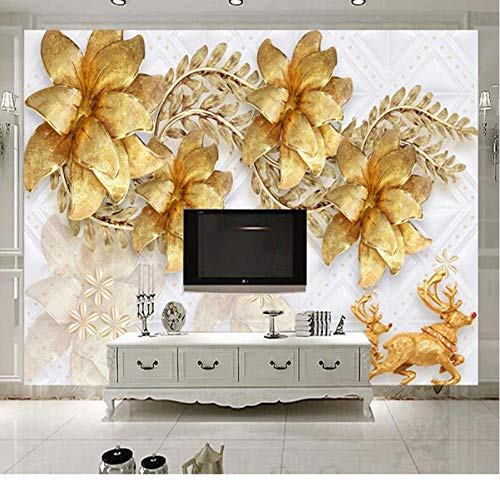 Xinghe wave Design Tapete Benutzerdefinierte Wandbilder Gold Schmuck Blume 3D Fototapete Wohnzimmer TV Hintergrund Wand Dekoration Wandbild Papel De ParedeHalloween - 1㎡(1 Quadratmeter)