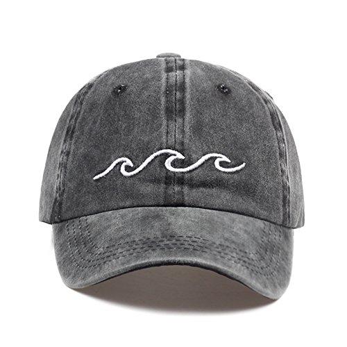 SUNNYBQM Baseballmütze Design Papa Hüte Frauen Männer Meer Welle Baseball Cap Unisex Mode Papa Hüte Sport Hüte, Dunkelgrau