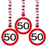 50 Geburtstag Deko Rotorspiralen mit Zahl 50 3er Set Hängende Dekoration zum 50er Geburtstag Party oder andere Anlässe