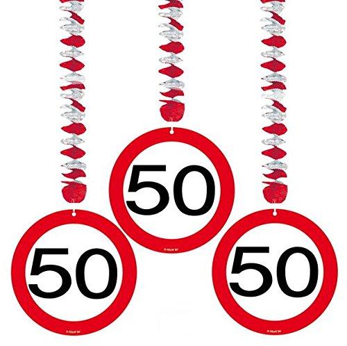 50 Geburtstag Deko Rotorspiralen mit Zahl 50 3er Set Hängende Dekoration zum 50er Geburtstag Party oder andere Anlässe (Party Deko 50er Jahre)