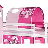 c2e12bf77ca3b2 Tunnel tente pour lit surélevé superposé mi-hauteur mezzanine tissu coton  motif princesse rose