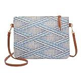 YULAND Handtasche Damen Klein Transparente Tasche Rucksack Damen Ledertasche Kleine Mode Frauen Mädchen Weben Taschen Nationale Ziemlich Crossbody Umhängetaschen (Himmelblau)