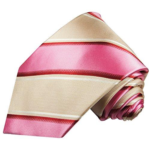 Cravate homme rose beige rayé 100% soie