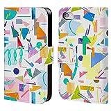 Head Case Designs Offizielle Ninola Collage Pop Weiss Geometrisch Brieftasche Handyhülle aus Leder für iPhone 4 / iPhone 4S