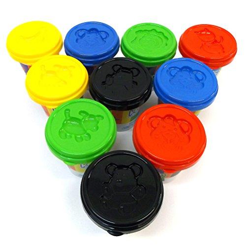 Brigamo 17236 – 10 Dosen Knete Super Farbenset, 1.4 kg Knete Set inkl. Förmchen – Hergestellt in Europa - 2
