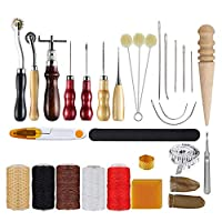 Goolsky 30pcs Leather Tool Kit Leather Working Tools Basic Leather Sewing Repair Kit Hand Sewing Needles Awl for Leather Shoes Bag Belt Repairing Stitching