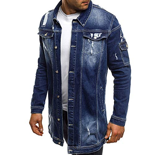 Qmber Kapuzenjacke Herrenjacke Sweatjacke Parka Mit Kapuze Hoodies Outdoor Coat Strickjacke Täglichen Mäntel Outwear Herbst Winter Tops, Lässige Vintage Wash Distressed Denim(Blau,X-Large) -