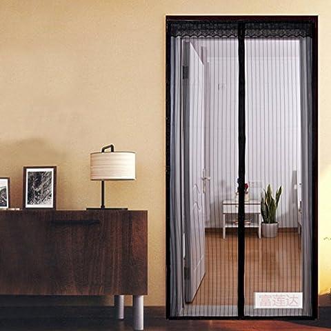 –Zanzariera magnetica per porta–Tenere fuori Insetti consente aria fresca in (100x 210cm), Poliestere, Black, 100_x_210_cm - Schermo Aria Fresca
